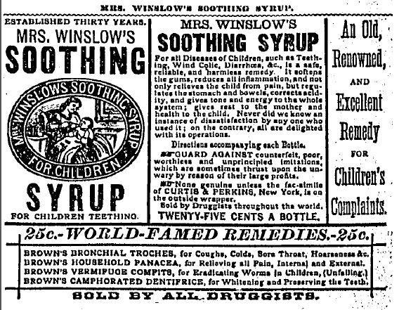 Patent medicine ad that was published in the Chicago Tribune in 1880.