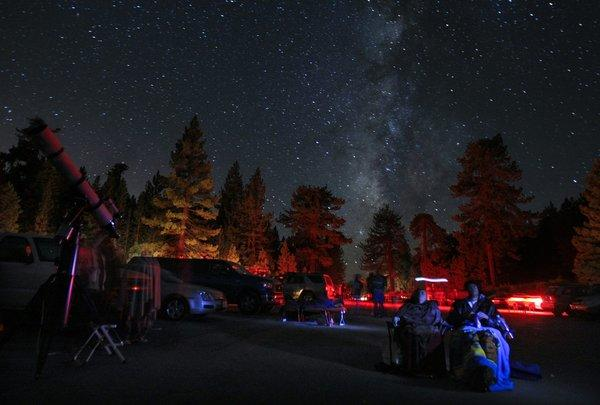 Sky watchers gather for the Perseid meteor shower of August 2010. This weekend, the Eta Aquarid meteor shower is at its peak.