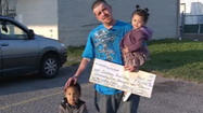 A former homeless man who hit the jackpot is paying it forward.