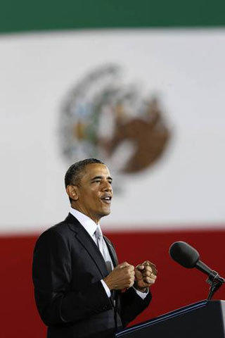 President Obama speaks at the National Anthropology Museum in Mexico City.