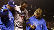 SAN FRANCISCO -- Hanley Ramirez hobbled to his locker. Adrian Gonzalez walked out of the clubhouse clutching a neck brace.