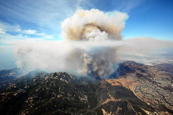 The Springs fire burns in the Santa Monica Mountains near Newbury Park on Friday.