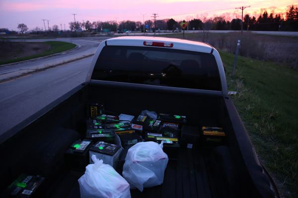 Car batteries believed to be stolen in the truck driven by two men that lead police on a 125-mile chase into Wisconsin.