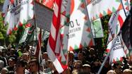 Hundreds of supporters of Hungary's far-right Jobbik party attend a rally against the World Jewish Congress Plenary Assembly in Budapest