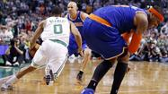 "New York Knicks forward Carmelo Anthony told reporters after his team eliminated the Boston Celtics from the Eastern Conference playoffs on Friday that his sore left shoulder ""popped in and out."""