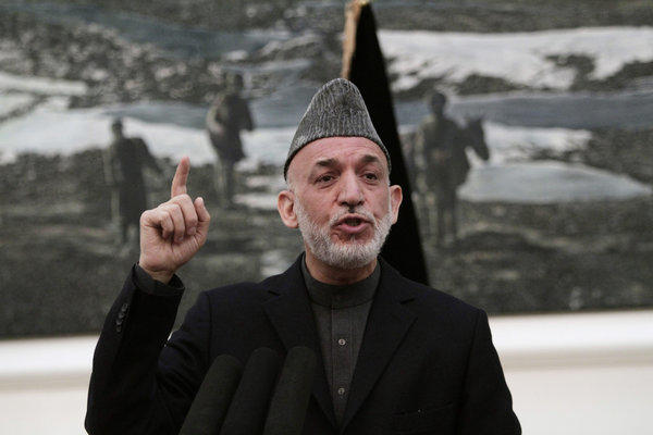 Afghanistan President Hamid Karzai speaks Saturday during a news conference at the presidential palace in Kabul