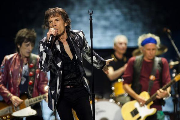 The Rolling Stones -- Ron Wood, left, Mick Jagger, Charlie Watts and Keith Richards -- perform at Staples Center in Los Angeles on Friday night.