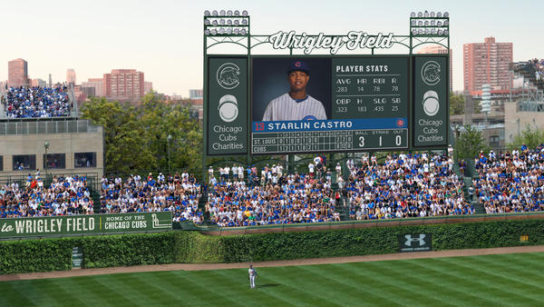 This rendering of Wrigley Field shows the proposed 6,000-square-foot video board in left field, including advertising on either side and on top.