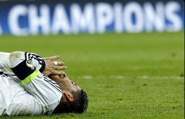 Real Madrid defender Sergio Ramos falls to the pitch after Borussia Dortmund defeated the Spanish club in the Champions League semifinals.