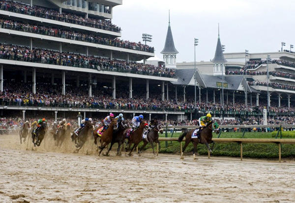 The first turn of the 139th running of the Kentucky Derby at Churchill Downs in Louisville.
