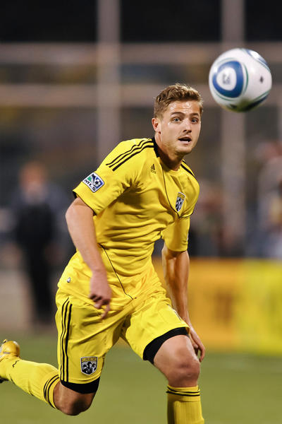 Robbie Rogers plays for the Columbus Crew in 2011.