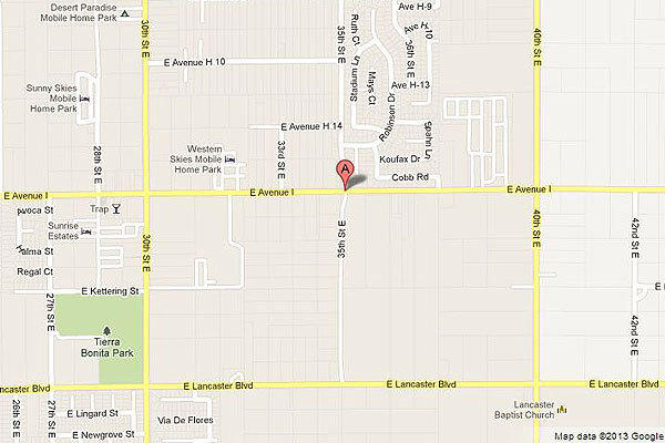 Map shows location of where a car hit a power pole in Lancaster.