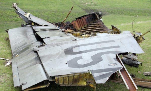 Wreckage of the U.S. Air Force KC-135 tanker aircraft that crashed near Chaldovar, Kyrgyzstan.