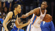 Kevin Durant had 35 points, 15 rebounds and six assists and nailed the go-ahead shot with 11.1 seconds left as top-seeded Oklahoma City rallied to upend visiting Memphis 93-91 in the opening game of the Western Conference semifinals.