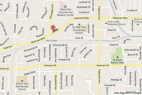 Map shows the location of an officer-involved shooting in Canoga Park.