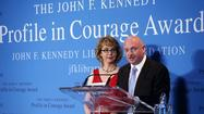 Courage comes in many guises. In Boston on Sunday, Gabrielle Giffords was praised for having the courage just to carry on.