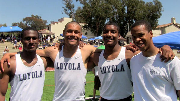 Loyola's school-record 4x100 relay team. Left to right: Lee Duncan, Mekai Sheffie, Nico Evans and Morgan Simon.