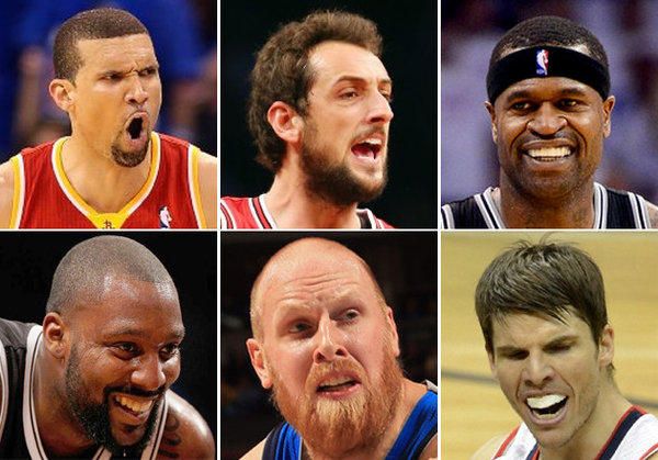 Among possible options for the Lakers, clockwise from top left: Francisco Garcia, Marco Belinelli, Stephen Jackson, Kyle Korver, Chris Kaman, and Andray Blatche.