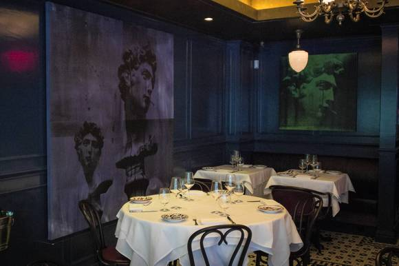 The dining room of Carbone restaurant is seen in New York, U.S.