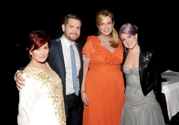 "Sharon Osbourne, left, Jack Osbourne, host Nancy Davis and Kelly Osbourne attend the 20th annual ""Race to Erase M.S."" gala."