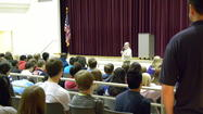 George Levy Mueller, a Holocaust survivor, spoke Monday, April 29 with students at D146's Central Middle School students regarding his traumatic childhood  experiences when growing up in Germany in the 1930's, during World War II.