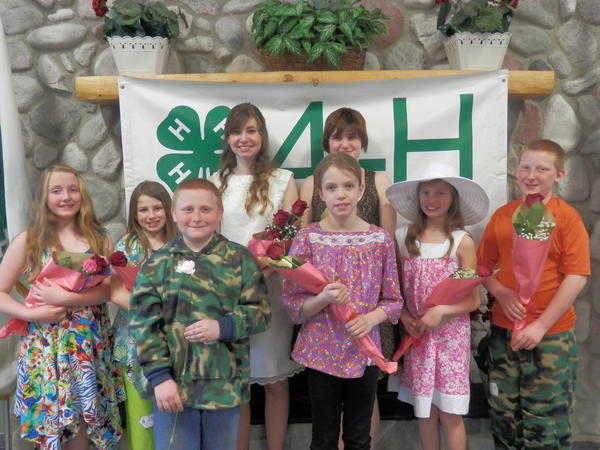 Receiving awards for their participation in the annual 4-H Dress Revue program are (back row, from left) Meghan Sexson, Azleigh Haley, Jana Tahtinen, Oryonah Ross, Jeannie Crittendon and Garth Vorce; (front row) Robert Vorce and Abby Sterly.