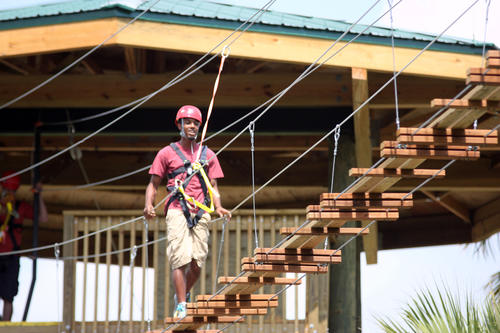 Gatorland has installed a zipline over the park. It runs among seven towers, some of it over the alligator ponds. It was constructed by Global Highline Adventures.
