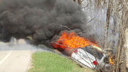 Fiery crash -- no one hurt