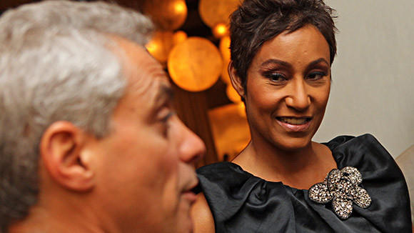 Mayor Rahm Emanuel and Desiree Rogers at the Pump Room before a dinner party hosted by Desiree Rogers in 2011.