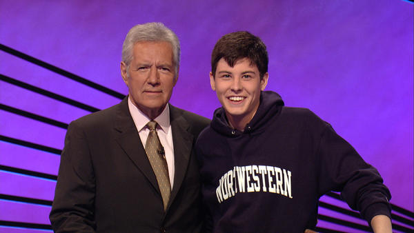 "Northwestern junior Daniel Donohue and ""Jeopardy!"" host Alex Trebek."