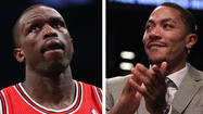 MIAMI -- Luol Deng and Derrick Rose will miss at least Game 1 of the Chicago Bulls' Eastern Conference semifinals series against the Heat and Kirk Hinrich is doubtful, according to coach Tom Thibodeau.