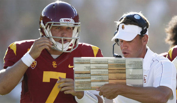 USC Coach Lane Kiffin, right, said he was contacted by the Philadelphia Eagles about Matt Barkley before they drafted the former Trojans quarterback in the fourth round.