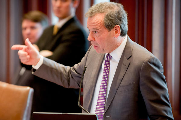 Senate President John Cullerton, D-Chicago, speaks to the Illinois Senate about pension in Springfield earlier this year.
