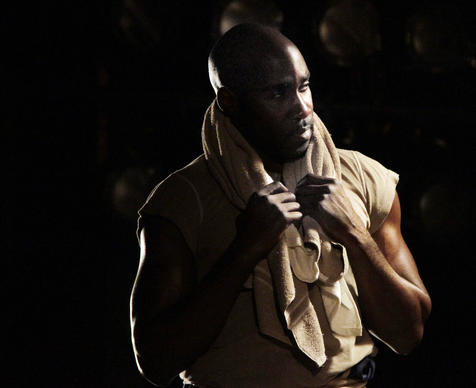 "David St. Louis as boxer Jay ""The Sport"" Jackson, a Jack Johnson surrogate, in ""The Royale"" by Marco Ramirez at Kirk Douglas Theatre in Culver City."