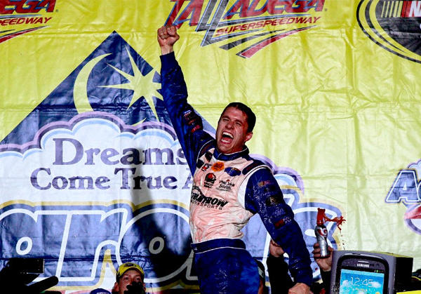 David Ragan celebrates in victory lane after winning at Talladega Superspeedway on Sunday.