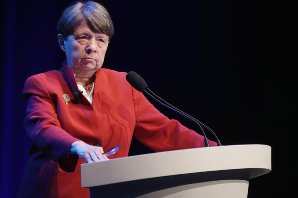 Securities and Exchange Commission Chairman Mary Jo White delivers remarks during the Investment Company Institute's general membership meeting at the Marriott Wardman Park hotel in Washington, D.C.
