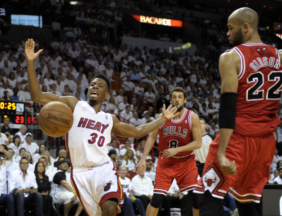 Miami Heat guard Norris Cole loses control of the ball during the second quarter of their Eastern Conference Semifinal Game against the Chicago Bulls, Monday, May 6, 2013.
