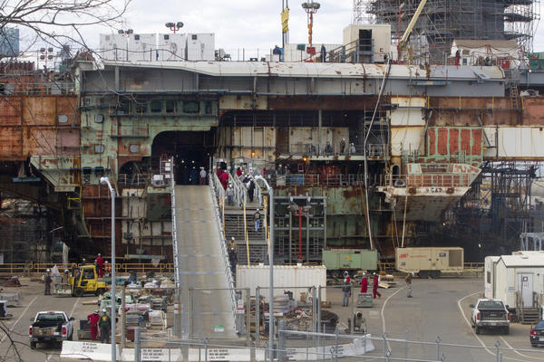 The aircraft carrier Gerald R. Ford is under construction at the Newport News Shipyard. The Navy said this week that Newport News Shipbuilding's inability to get critical valves in a timely fashion has driven up the aircraft carrier's construction cost.