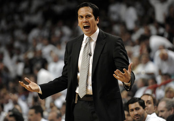 Miami Heat head coach Erik Spoelstra talks to the referees during the fourth quarter of their Eastern Conference Semifinal Game against the Chicago Bulls, Monday, May 6, 2013.
