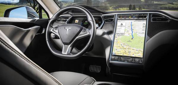 Tesla Model S' interior includes a 17-inch touch screen with music and radio, maps and navigation, Internet search, climate control and cabin settings.