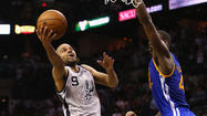 SAN ANTONIO -- Manu Ginobili hit a 3-pointer with 1.2 seconds remaining in the second overtime, and the San Antonio Spurs rallied for an improbable 129-127 win over the Golden State Spurs in Game 1 of the Western Conference semifinals Monday night at the AT&T Center.