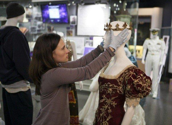"A curator assembles a costume from the movie ""Snow White and the Huntsman,"" which was nominated for a costume design Oscar."