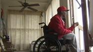 Victor Hill, a Newport News man disabled by a stroke, tells WAVY-TV 10 that someone stole his motorized wheelchair while he had left it outside to charge.