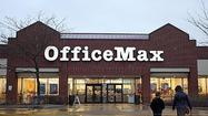 Shares of OfficeMax Inc. are down more than 2.5 percent on Monday after the company reported first-quarter sales declined 5 percent and earnings fell short of analyst expectations.