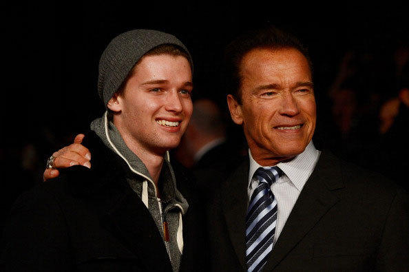 Actor Arnold Schwarzenegger (R) and Patrick Schwarzenegger attend the European Premiere of 'The Last Stand' at Odeon West End on January 22, 2013 in London, England.