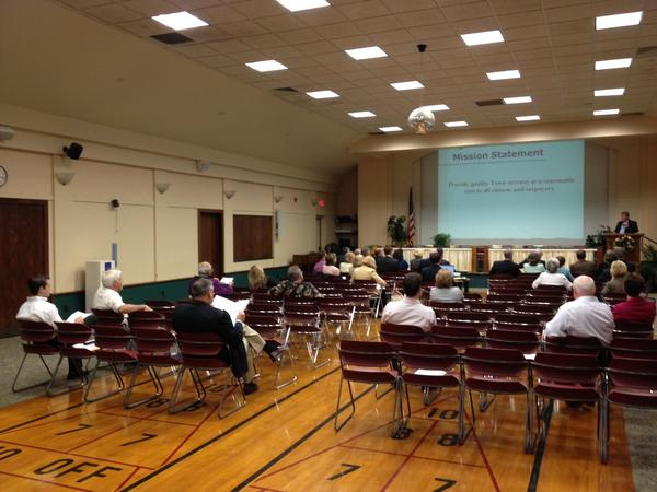 A small number of people turned out to hear a presentation on the $81.76 million budget proposed for next year at the annual town budget meeting on May 6.