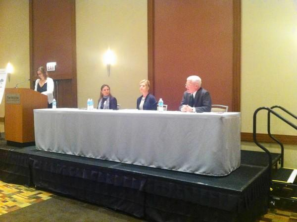 A panel of mental health experts discuss teen suicide at a seminar in Wheeling May 1.