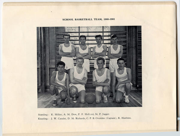 Mick Jagger, standing on far right, shown in his school basketball team photo from 1961, part of the Rock and Roll Hall of Fame's upcoming Rolling Stones exhibition.