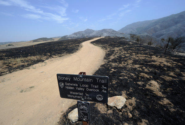 The Boney Mountain trail and other trails in the nearly 14,000-acre Point Mugu State Park were scorched by the Springs fire.