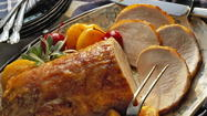 For Mom's special meal serve Sweet & Spicy Pork Roast & Peaches, a mixed green salad with grape tomatoes and blueberries, freshly whipped potatoes with sour cream and fresh chives. For dessert,  bakery-bought mini cupcakes will get applause from the entire family.